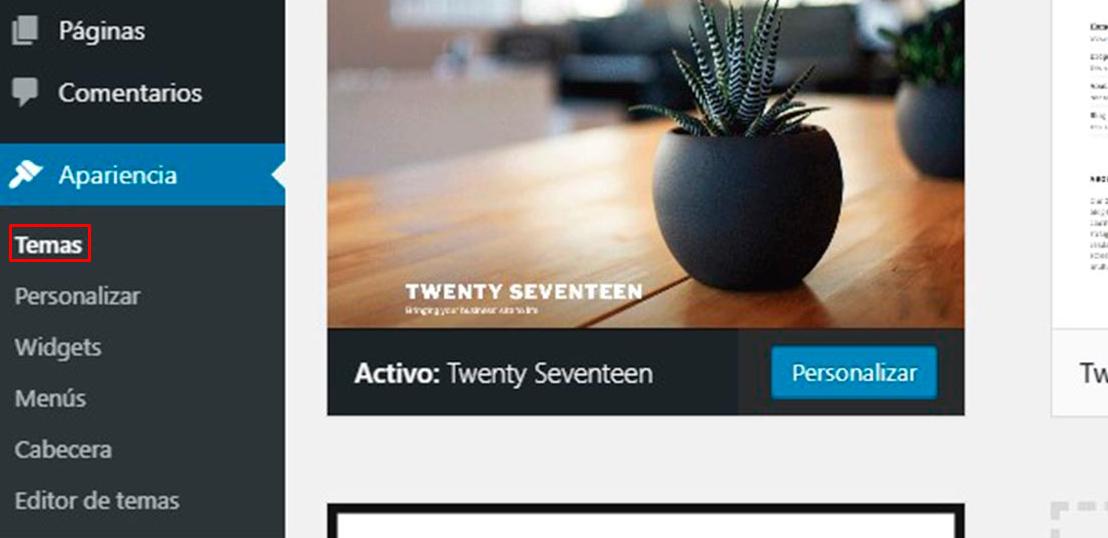 Quitar temas del menú de administración de WordPress